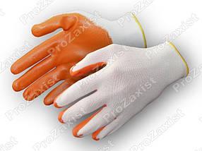 Перчатки рабочие стрейчевые  покрытые гладким латексом (оранж/син), фото 3