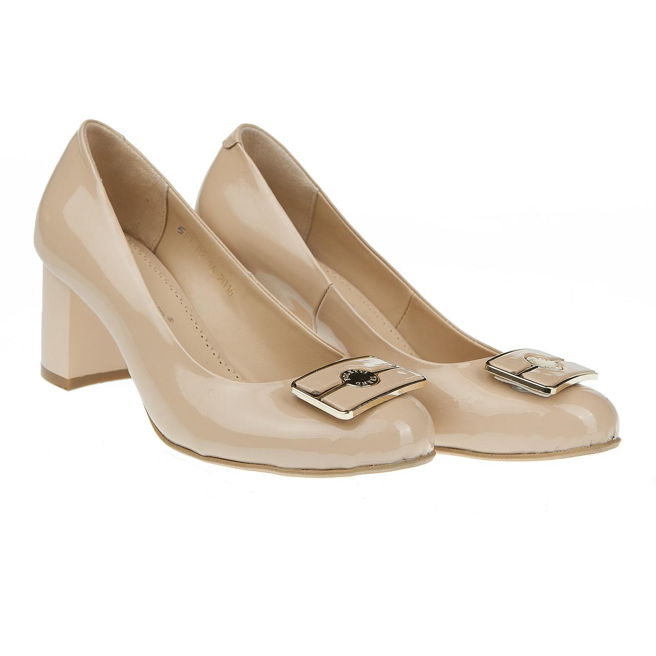 Туфли женские лаковые от Foletti (элегантные, бежевого цвета, на удобном каблуке)