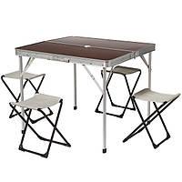 Компактный набор для пикника: стол и стулья раскладные, основа из алюминия, столешница МДФ, Китай