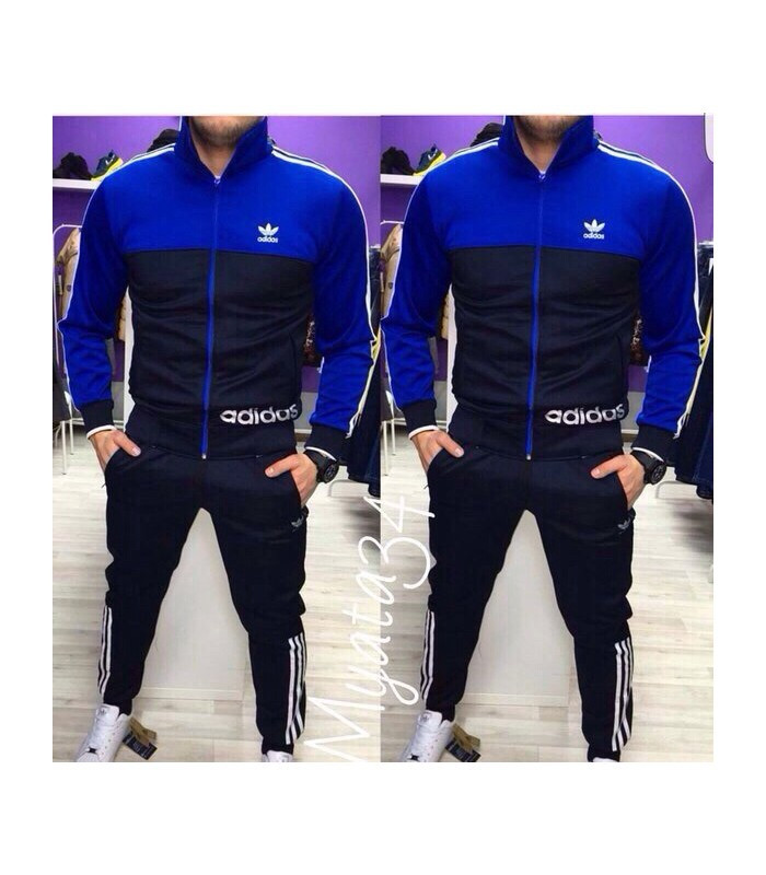 fd78ca1d Мужской спортивный костюм Адидас синий (зауженные штаны): продажа ...