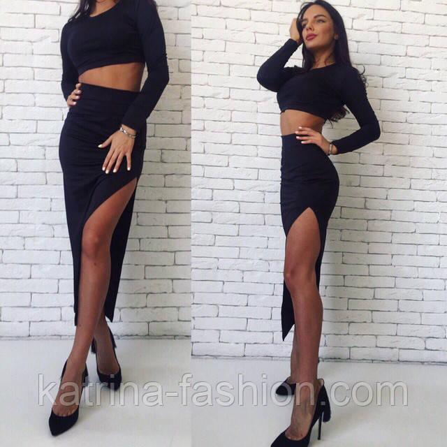 Длинная юбка с разрезом по ноге