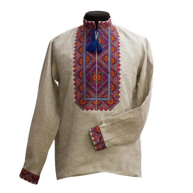 Льняная рубашка с эксклюзивным орнаментом
