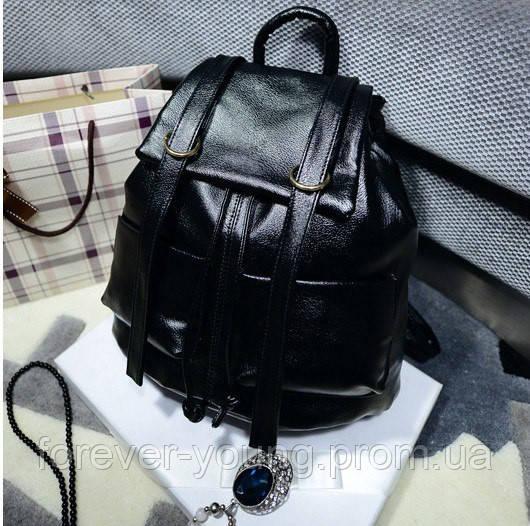 358c7968bcd1 Женский рюкзак кожзам черный - Интернет-магазин