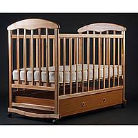Детская кроватка-качалка с ящиком,лакированная светлая