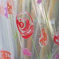 Тюль органза с красно-фиолетовым рисунком