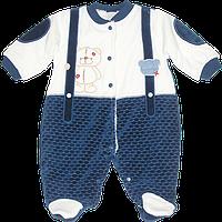 Детский комбинезон на кнопках (человечек), велюр, на подкладке, Турция, ТМ Ромашка, р. 62, 68, 74