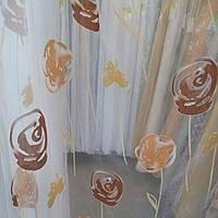 Тюлевая органза, коричневый цветок
