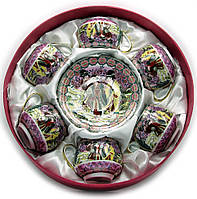 """Сервиз круглый фарфор 110мл 6 чашек+6 блюдец""""Фиолетовый"""" h-5,5см, Ø 5см, Ø блюдца 11см (22547)"""