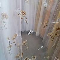 Тюль органза бело-коричневые цветы