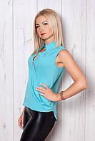 Голубая блузка без рукав с воротником