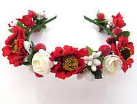 Обруч веночек ручной работы, маки и розы