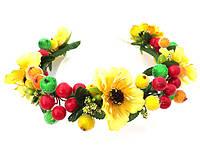 Обруч веночек ручной работы, желтые цветы и ягодки