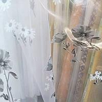 Тюль органза бело-серые цветы