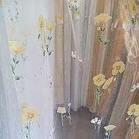 Гардина органза бело-желтые цветы