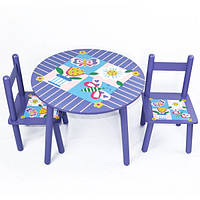 Стол + 2стула 2407-101 (W02-883(H916) Цветы круглый
