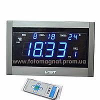 Часы сетевые VST 771 Т-5 говорящие синие, пульт ДУ тёмн.серебро (электронные часы настольные,настенные)