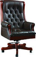 Кресло Линкольн, кожа черная/коричневая (671-B+PVC)