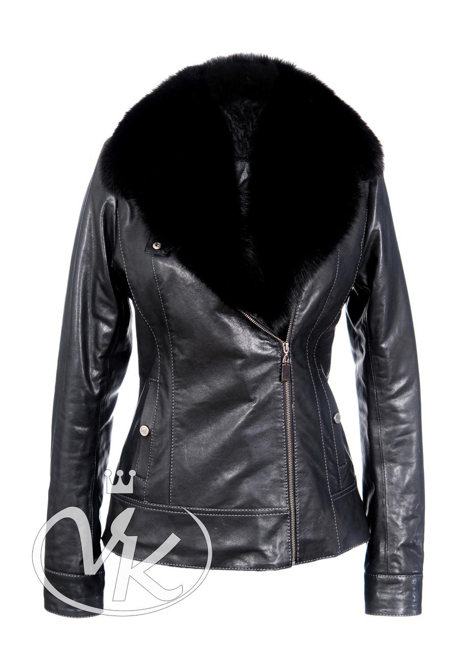 Кожаная куртка с песцовым воротником короткая зимняя женская (Арт. K202)