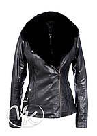 Черная кожаная куртка с мехом песца