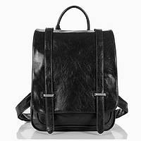 Женский рюкзак портфель черный квадратный натуральная кожа
