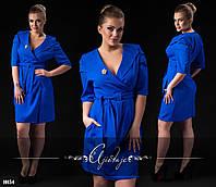 Платье-пальто синее большие размеры