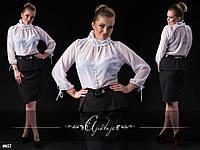 Платье-блузка белое с черным