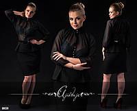 Платье-блузка черное с поясом