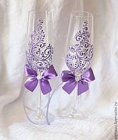 Свадебные бокалы, роспись. Разные цвета.