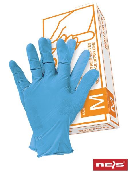 Нітрилові рукавички, блакитні, неопудрені RNITRIO N