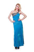 Вечернее длинное голубое платье