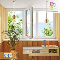"""Трехчастная лоджия пластиковая KBE 88 8-series, размер 3000х1450 мм """"Окна Маркет"""""""