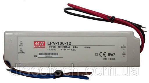 Блок питания 12V/100W 8,5A IP67 LPV-100-12 Mean Well