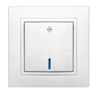 Выключатель VS10-202 одноклавишный с LED посветкой проходной внутр. уст. белый Elegant MARSHEL
