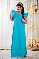 Батальное  платье в пол с коротким рукавом