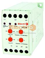 Реле контроля фаз, перекоса и напряжения ЕЛ-11М 3Р+N 4 регулировки 380В Electro