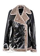 Черная куртка кожаная с мехом двубортная