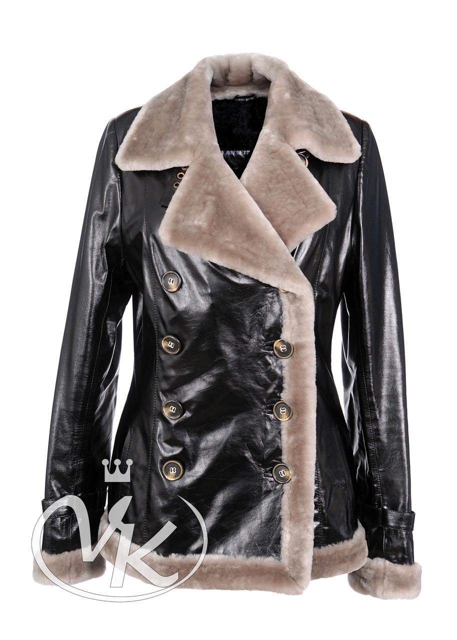 Зимняя куртка женская с натуральным мехом короткая 46 размера (Арт. SC102)