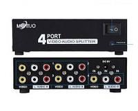 Сплиттер делитель AV сигнала 4 портовый