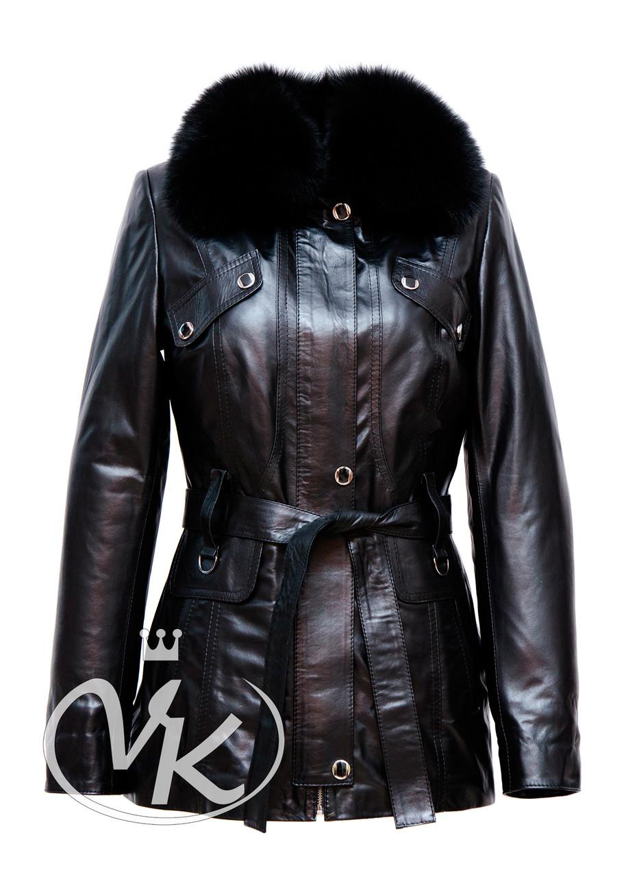 Кожаная куртка трансформер с мехом длинная женская осеннне-зимняя (Арт. E202)