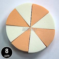 Luxury Спонж косметич. SP-10 (8шт) треугольные цветные латекс, фото 3