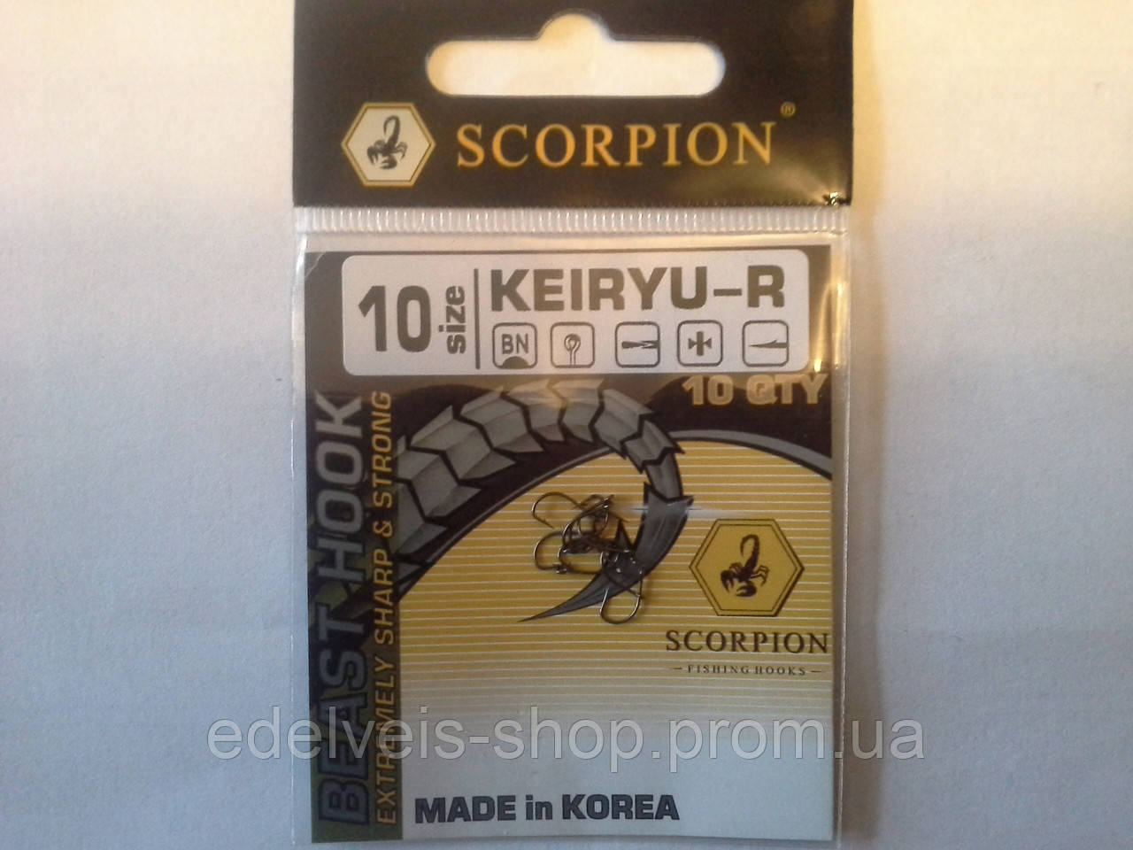 Крючки рыболовные SCORPION  KEIRYU 10