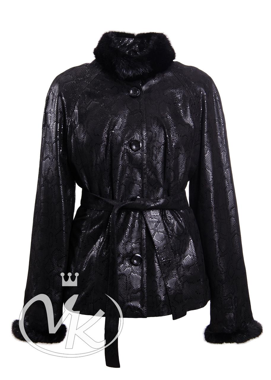 Кожаная куртка женская с мехом большого размера 56 размера (Арт. R202-2)