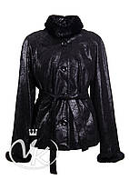 Черная кожаная куртка с мехом женская, фото 1