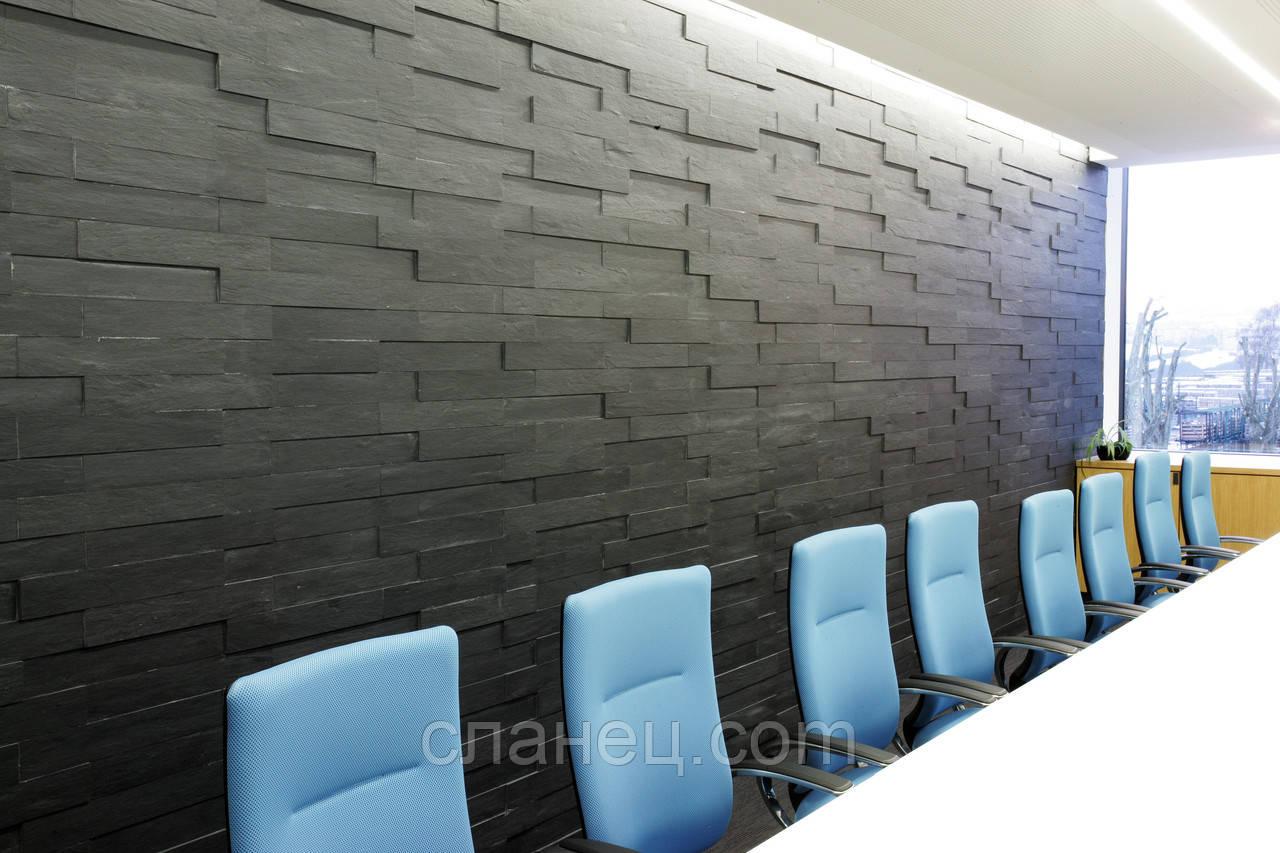 Натуральный сланец 3D черный, тёмно-серый