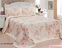 """Бежевое покрывало с цветами на двуспальную кровать в стиле """"Модерн"""""""
