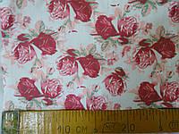 Ткань джинсовая в розочках  средней плотности   №0021 розовая и синяя