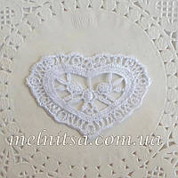 Кружевное сердце, 7,5х5 см, цвет белый