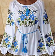 Блузка вышиванка женская .Лилия голубая