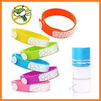 Малиновый силиконовый браслет с флаконом масла Цитронеллы (3мл.) - защита от комаров на несколько месяцев
