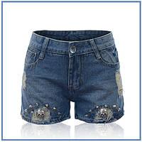 Джинсовые шорты р. 34 с черепами и шипами для крутой девчонки